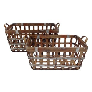 Alexander 2 Piece Rectangle Bamboo And Metal Storage Basket Set