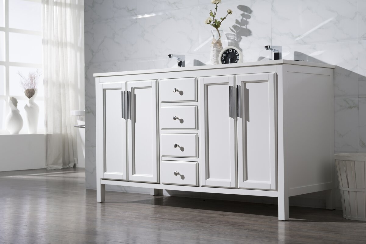 "Bathroom Vanities Kansas City Area brayden studio carpentier 59"" double sink bathroom vanity set"