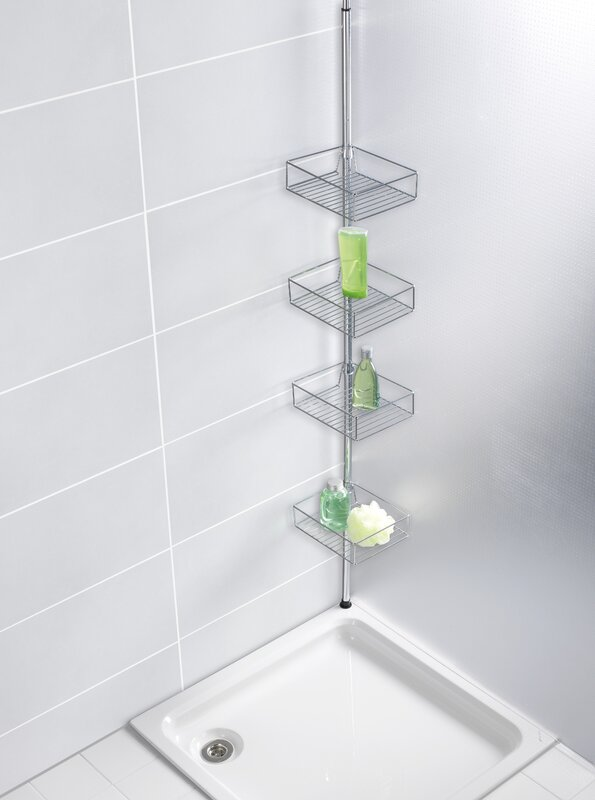 Wenko domaso telescopic metal wall mounted shower caddy - Etagere murale bleu turquoise ...