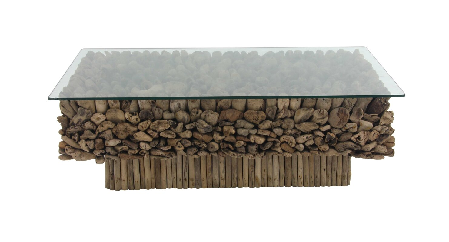 Foundry select alston natural rectangular driftwood and glass alston natural rectangular driftwood and glass coffee table geotapseo Choice Image