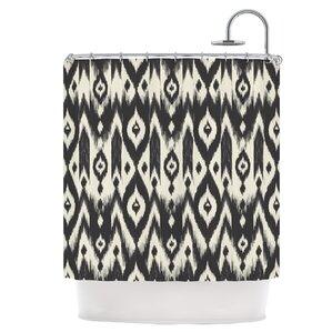 Lovely Black Cream Tribal Ikat Shower Curtain