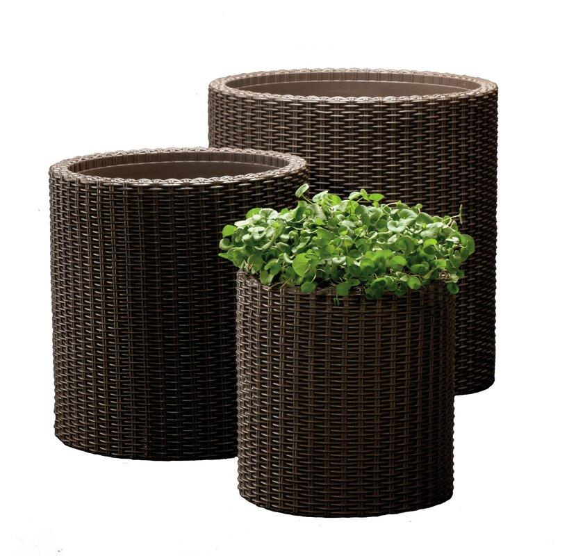 keter 3 piece plastic pot set reviews wayfair. Black Bedroom Furniture Sets. Home Design Ideas