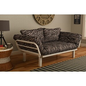 Maloof Convertible Lounger in Zebra Zen Futon and Mattress by Bloomsbury M..
