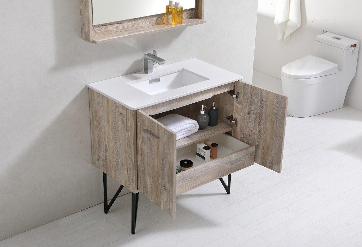 """33 Single Bathroom Vanity: Union Rustic Ellison Nature Wood 36"""" Single Bathroom"""