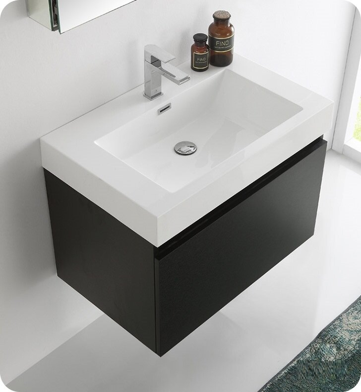 Senza 30 Mezzo Single Wall Mounted Modern Bathroom Vanity With Medicine Cabinet