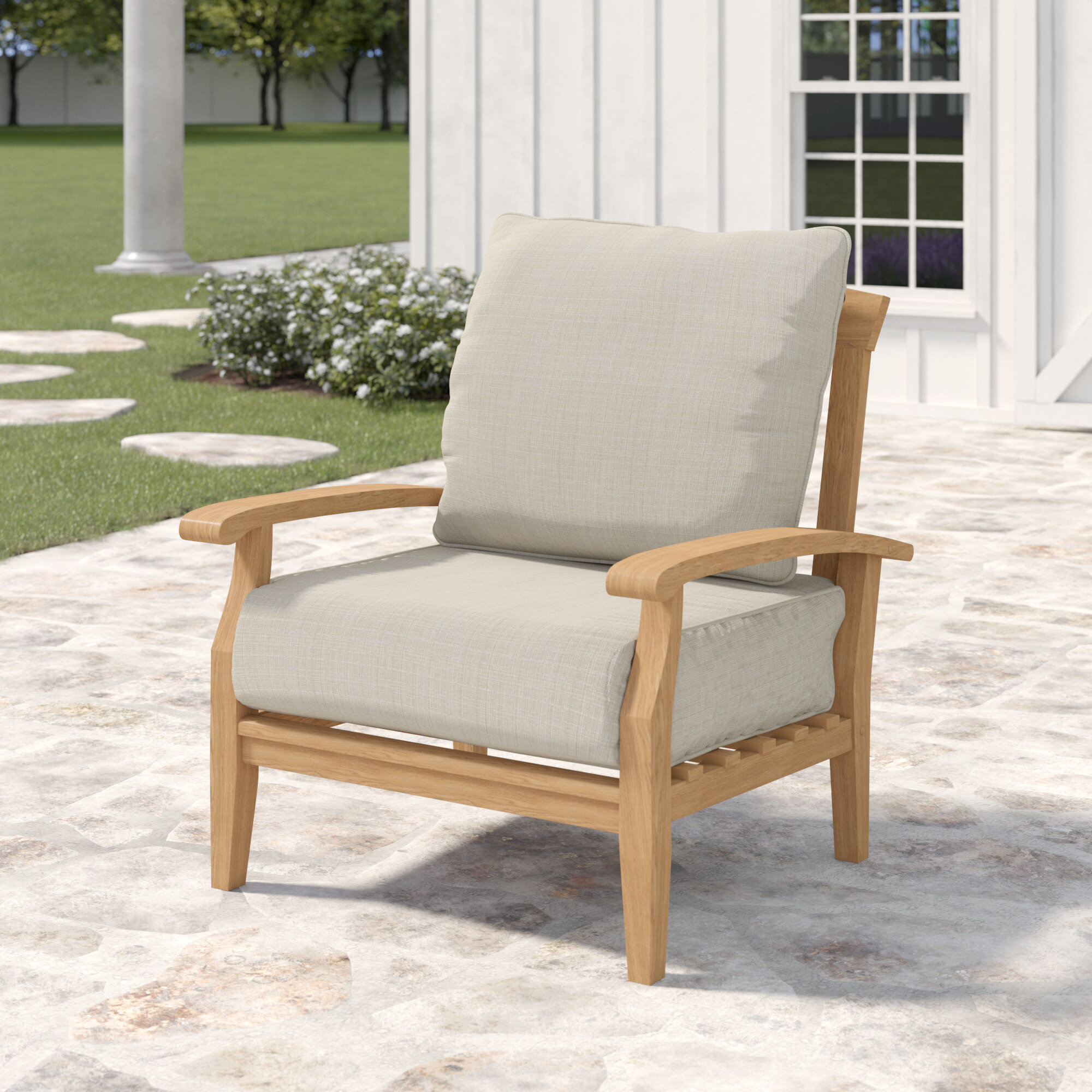 Fabulous Summerton Teak Patio Chair With Cushions Home Interior And Landscaping Ologienasavecom