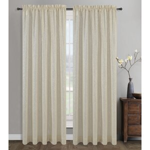 Cosmo Solid Semi-Sheer Rod Pocket Curtain Panels (Set of 2)