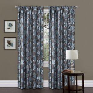 circle charm geometric semisheer rod pocket single curtain panel