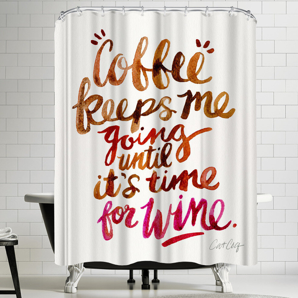 East Urban Home Coffee And Wine Shower Curtain