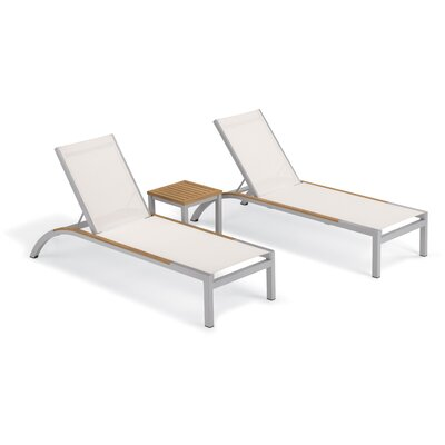 Brayden Studio Saint-Pierre 3 Piece Reclining Chaise Lounge with Table Color: Natural