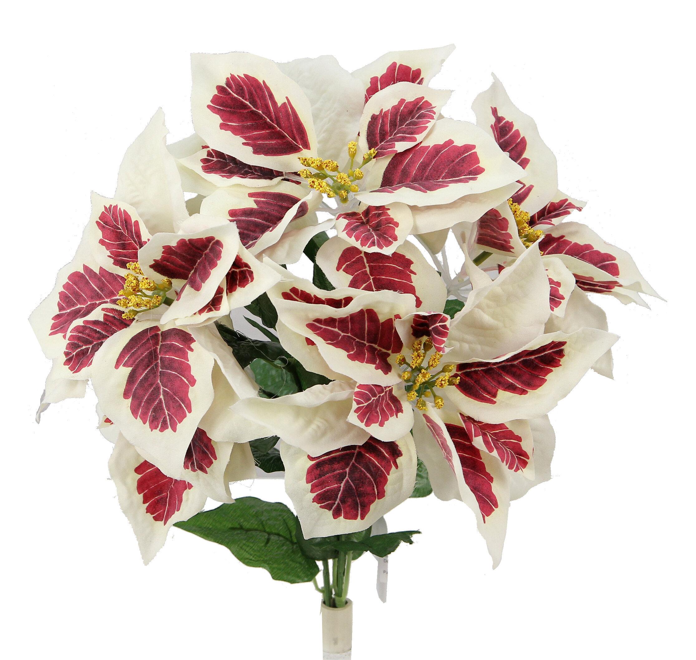 The Holiday Aisle 5 Stems Artificial Poinsettia Floral Arrangement