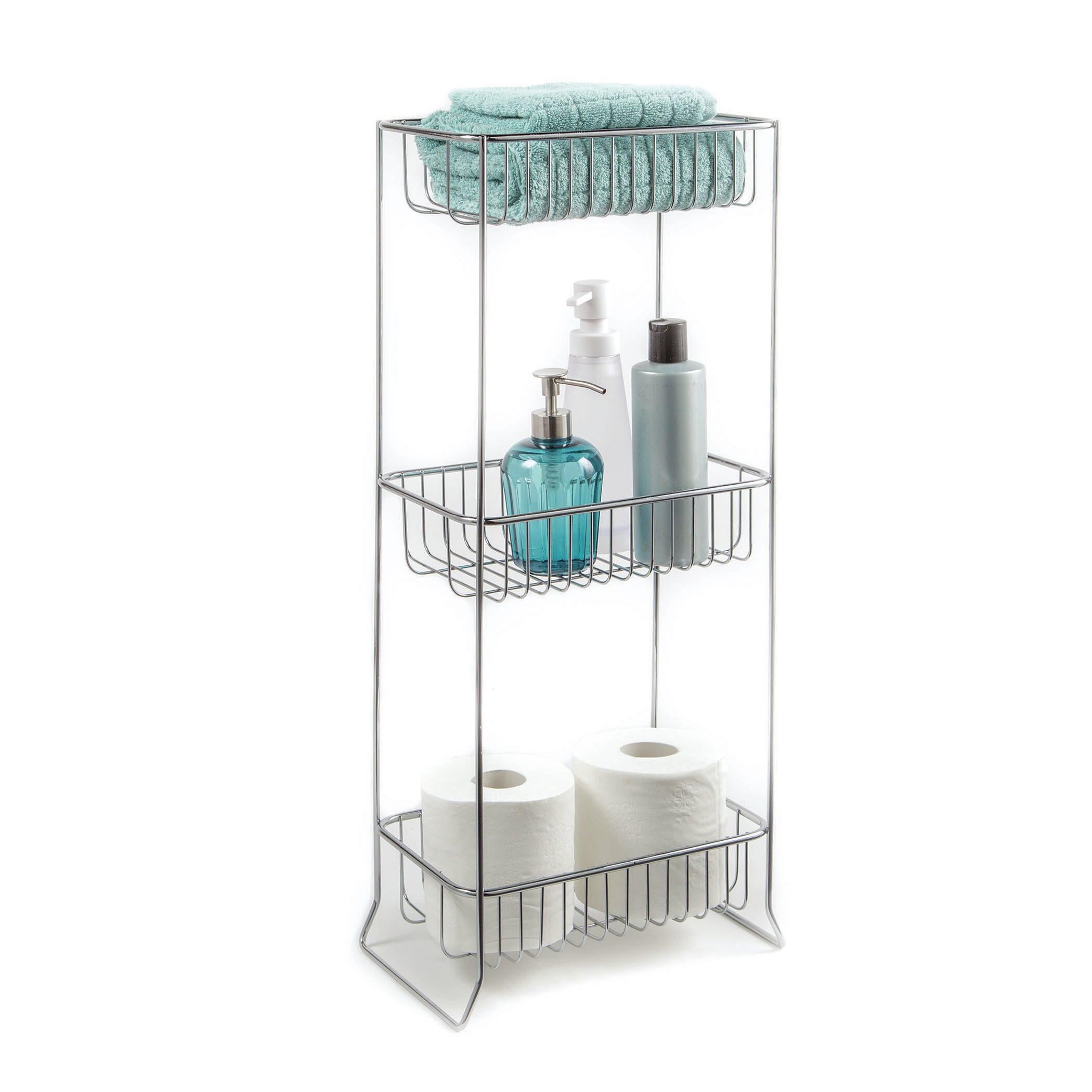 HomeCrate Bathroom Accessories Corner Stand Open Wire Design With 3 ...