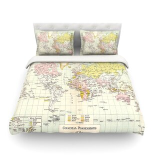 World map bedding sets wayfair travel world map by catherine holcombe featherweight duvet cover gumiabroncs Image collections