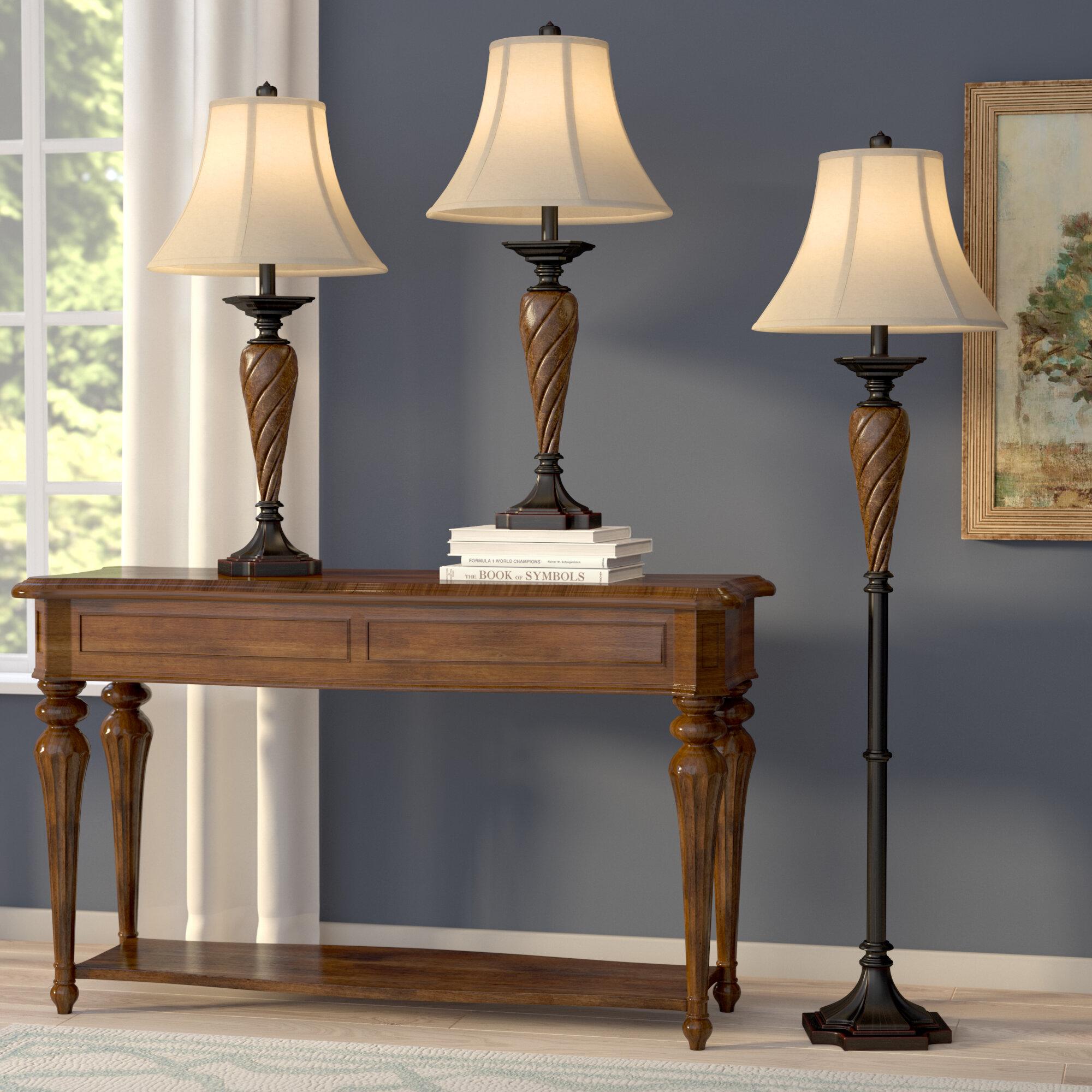 Torian 3 Piece Table And Floor Lamp Set Reviews Birch Lane