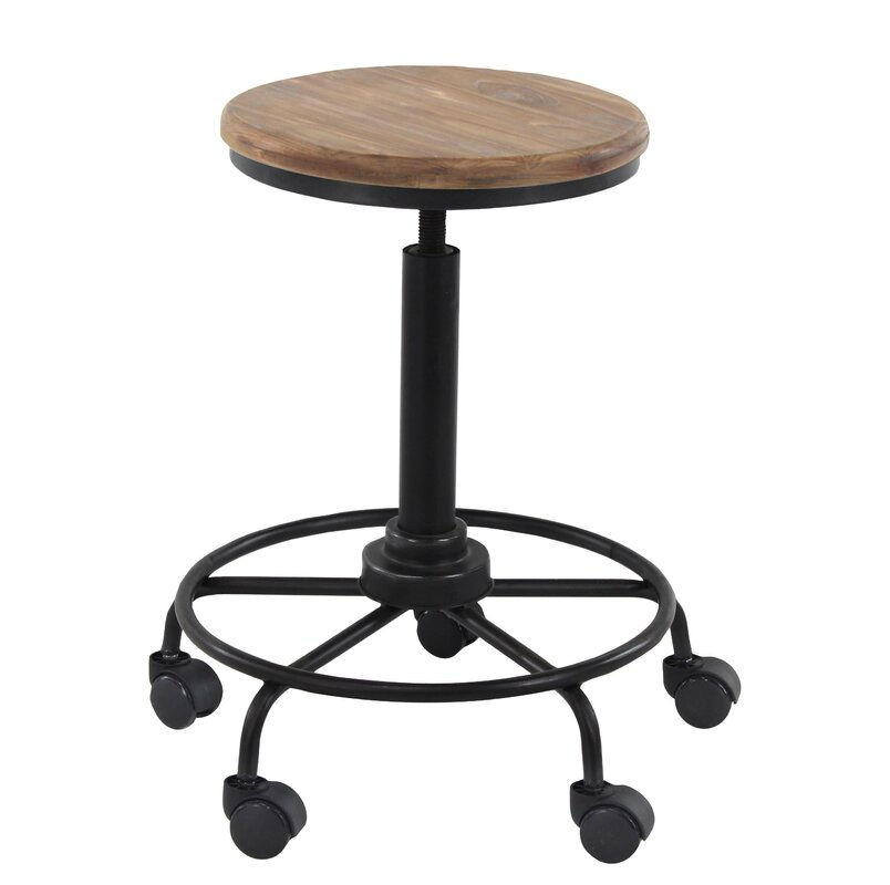 17 Stories Arseny Rustic Iron And Wood Round 23 Quot Bar Stool