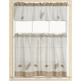 Charmant Rustic Leaf Embroidered Kitchen Curtain