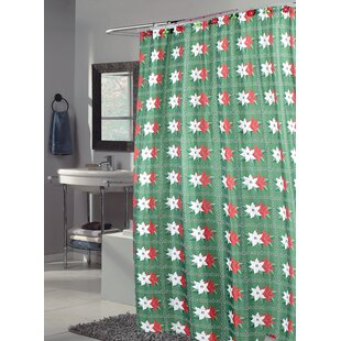 Poinsettia Holiday Shower Curtain
