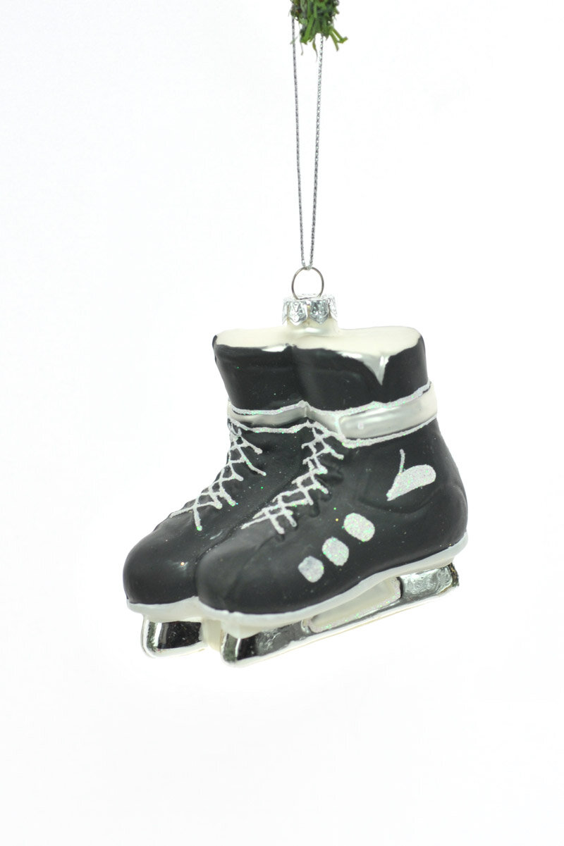 The Holiday Aisle Glass Black Skating Shoes Ornament | Wayfair