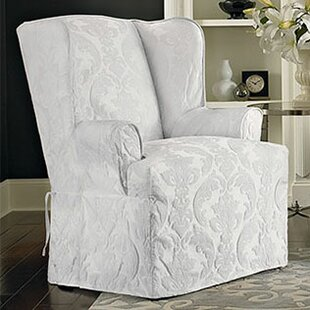 Charmant Matelasse Damask T Cushion Wingback Slipcover
