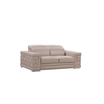 Beige Leather Sofas You Ll Love Wayfair