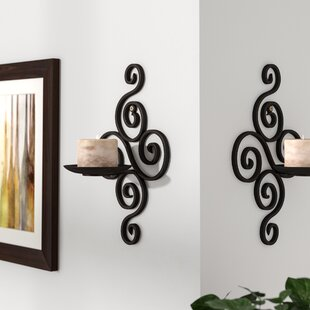wall sconces with candles lighting iron wall sconce candle holder set of 2 sconces youll love wayfair
