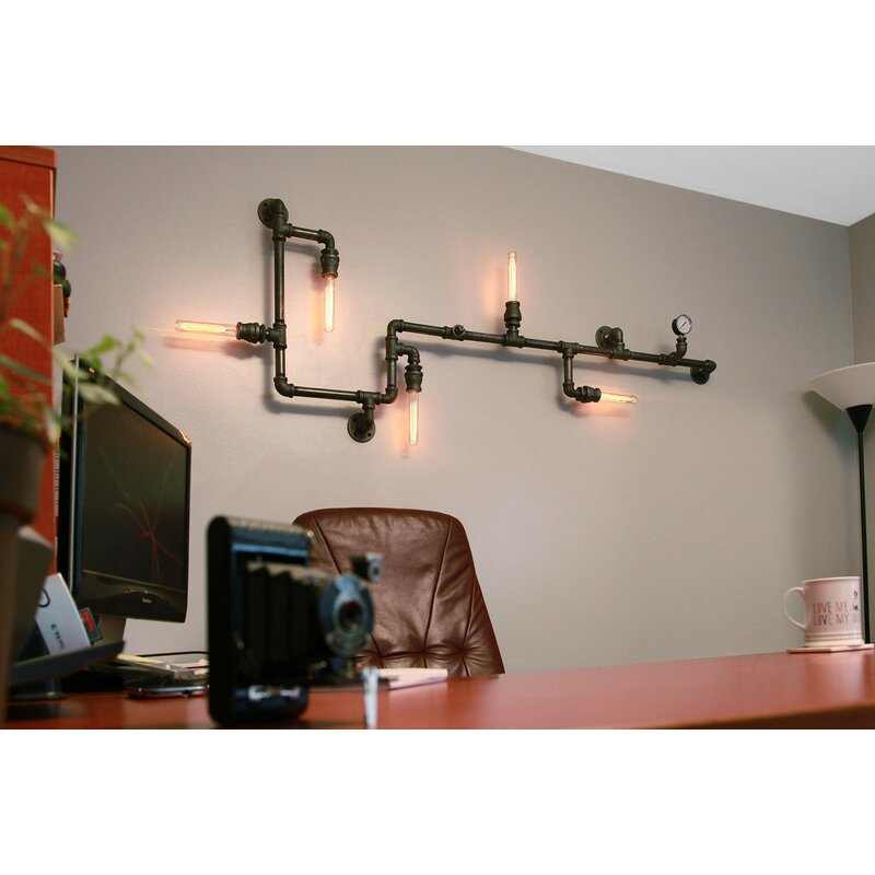 Industrial Pipe Wall Light: West Ninth Vintage Steampunk 5-Light Industrial Pipe Wall