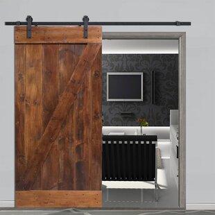 Knotty Solid Panelled Wood Slab Interior Barn Door