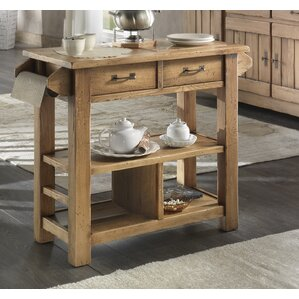 Karval Serving Kitchen Cart with Wood Top by Loon Peak