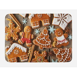 Tasty Umber Pale Brown White Gingerbread Man Bath Rug