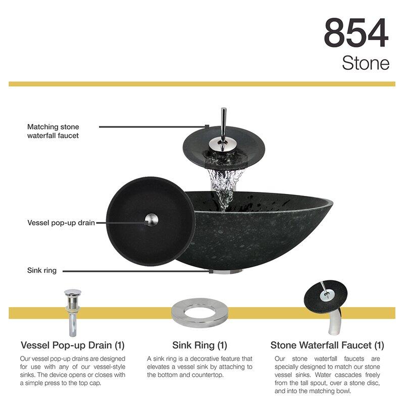 MRDirect Honed Basalt Stone Circular Vessel Bathroom Sink with ...