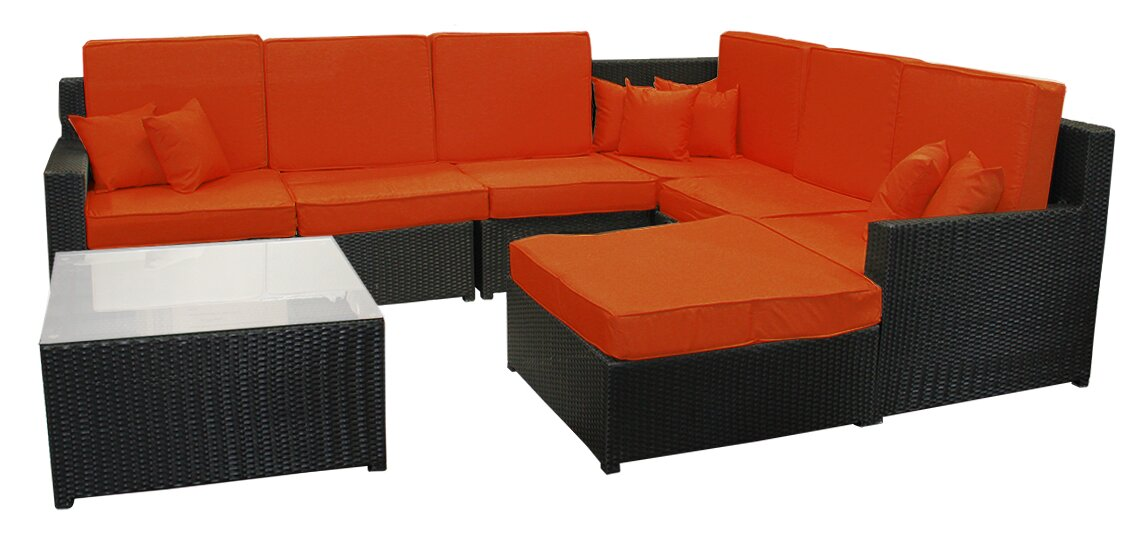8 Piece Resin Wicker Outdoor Furniture Sectional Sofa Table And Ottoman Set