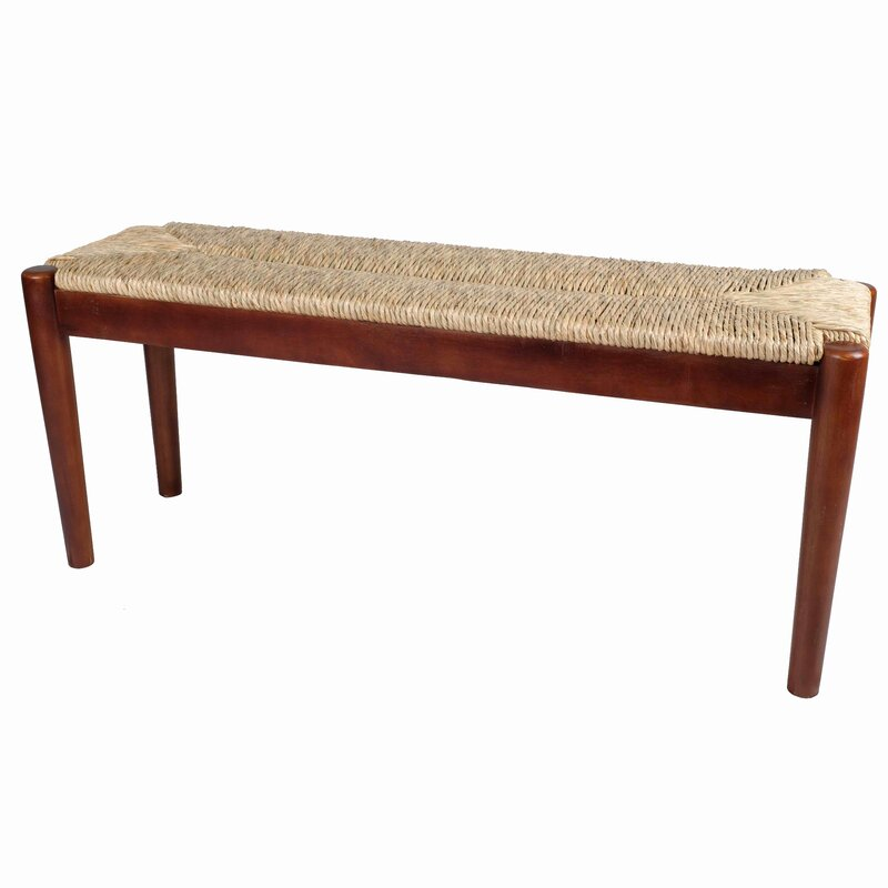 August Grove Harlowe Wicker Bench  Color: Dark Natural Wood Finish Frame with Seagrass Woven
