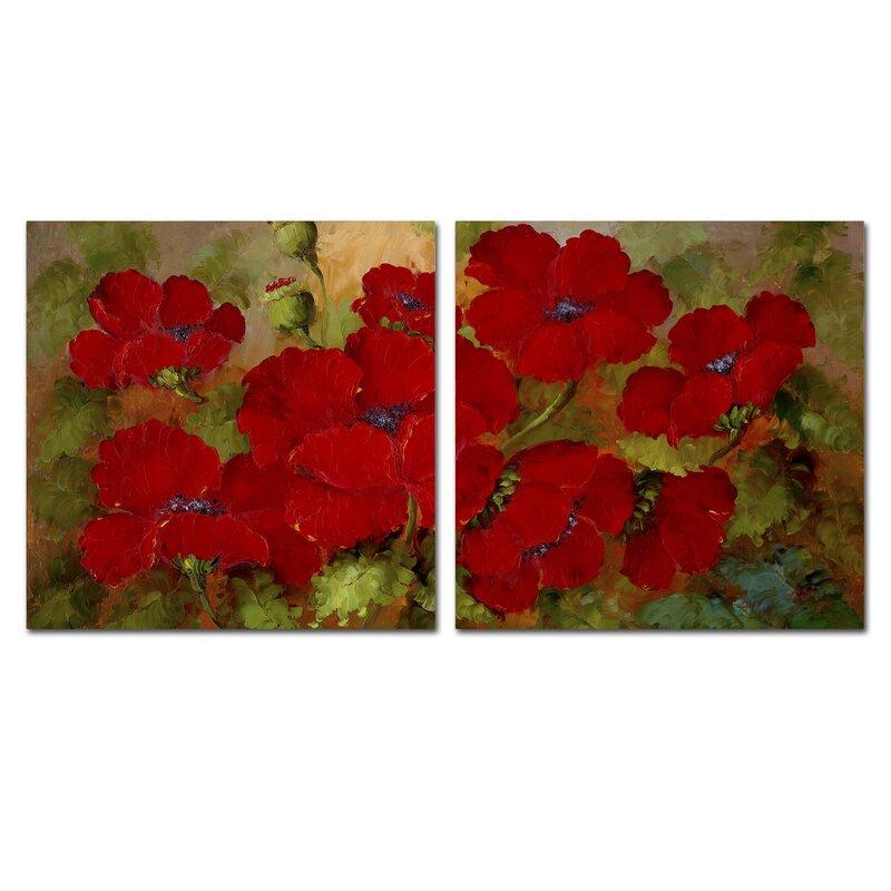 Trademark Global \'Red Poppies\' Wall Art Set & Reviews | Wayfair