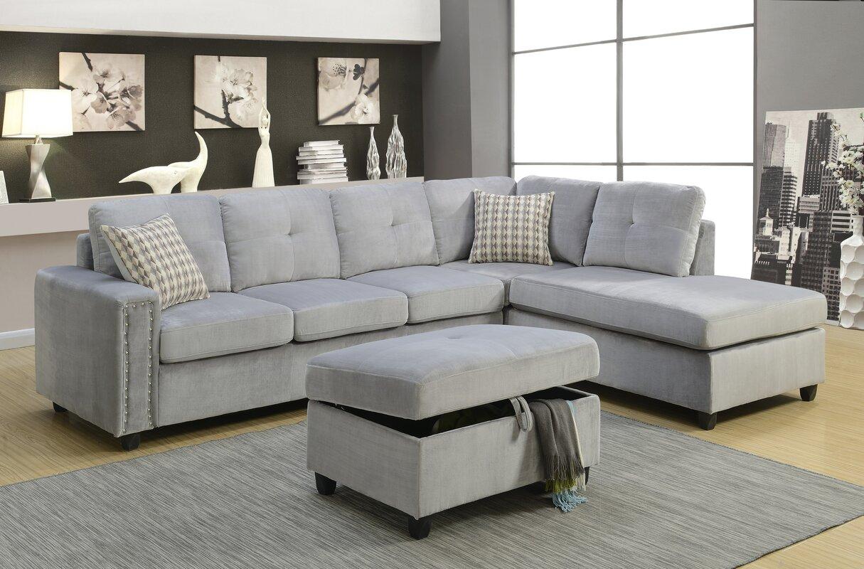 Velvet Sectional Sofas You Ll Love Wayfair ~ Gray Velvet Sectional Sofa