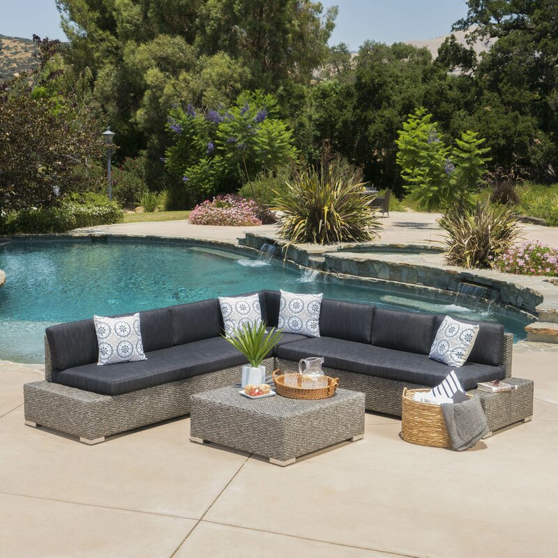 Mallus Outdoor 4 Piece Sectional Set with Cushions : patio sectional set - Sectionals, Sofas & Couches