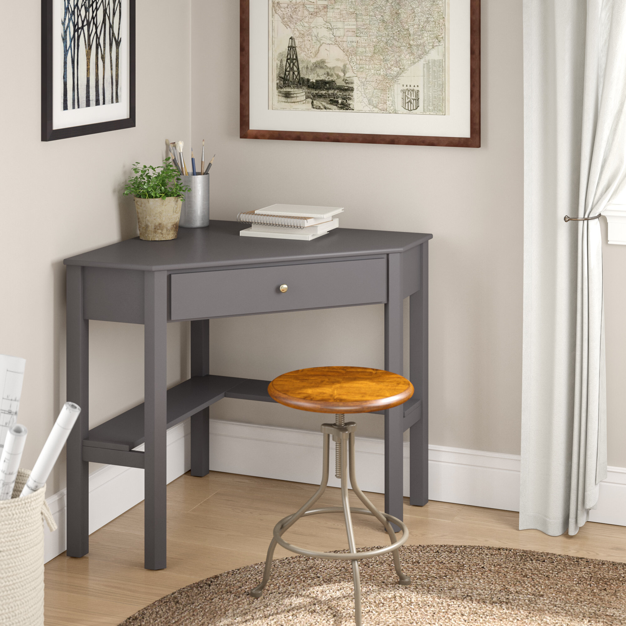 Suri Wood Corner Desk