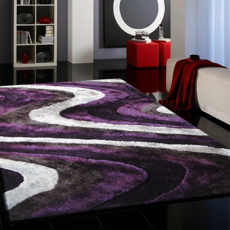 Sirard Hand Tufted Gray Purple Indoor Area Rug