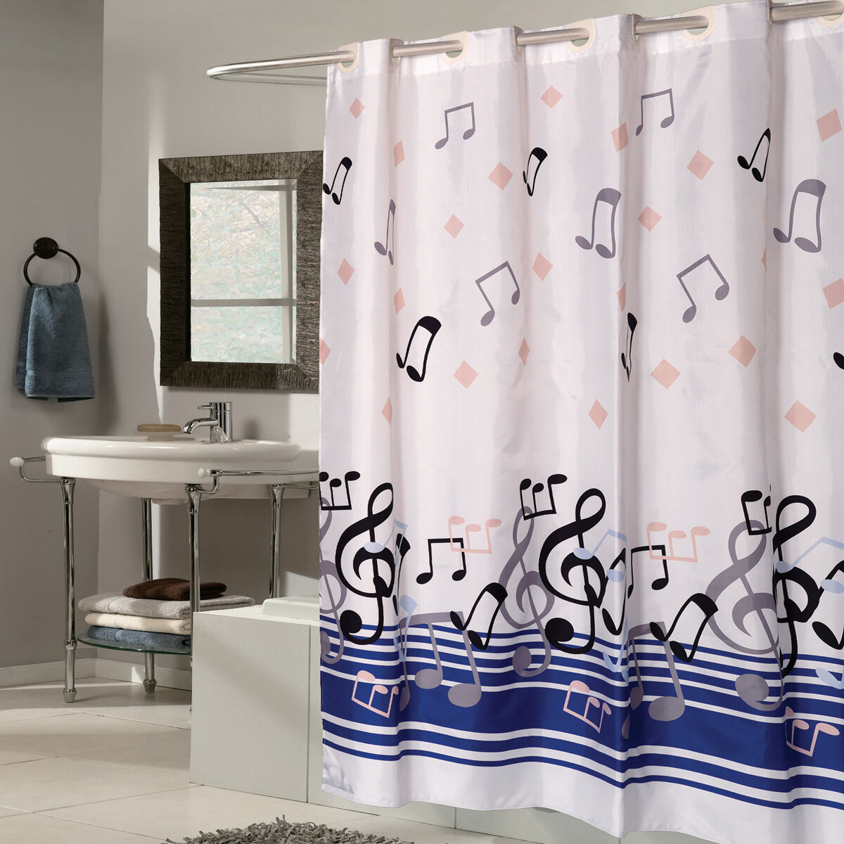 Sweet Home Collection Music Note Fabric Shower Curtain