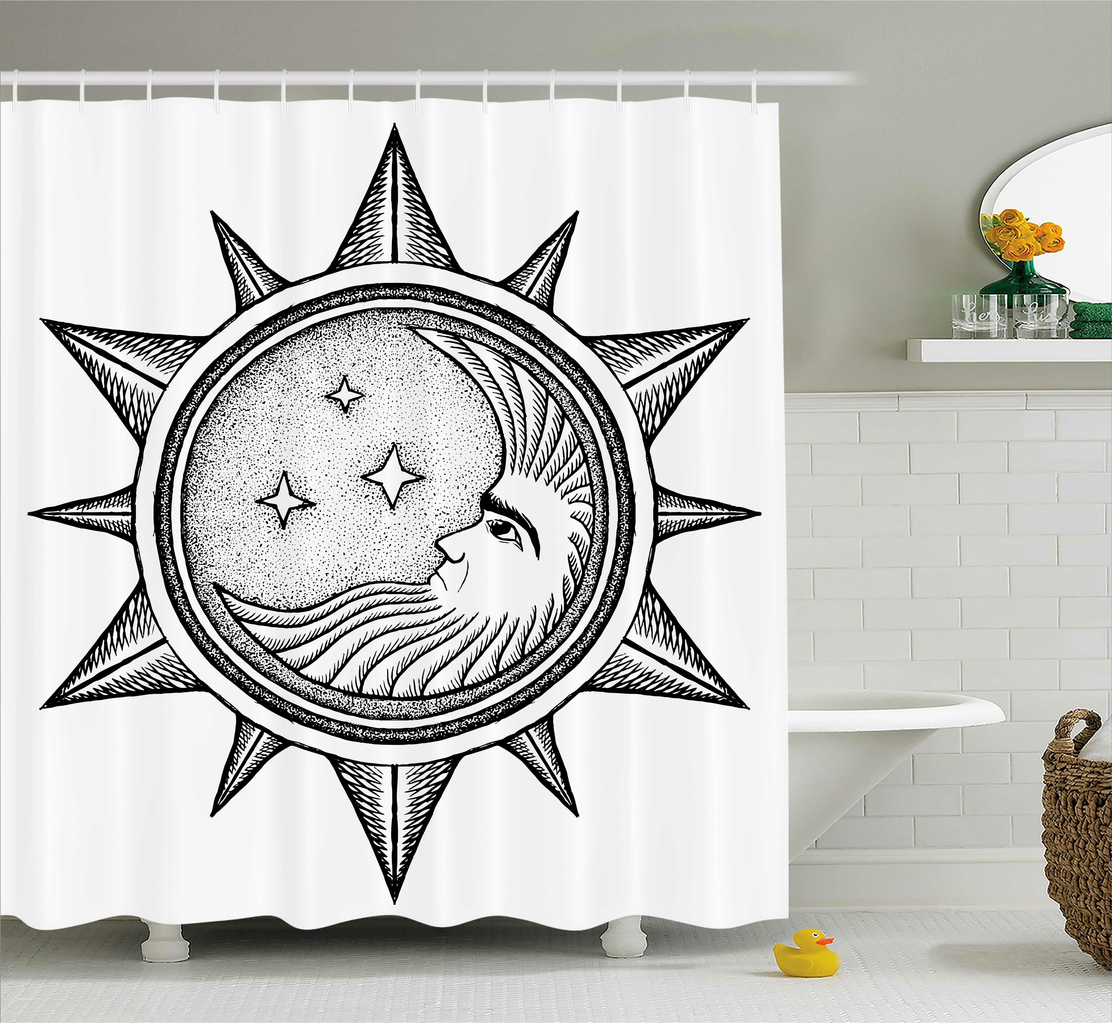 Ebern Designs Carel Moon With Stars In Sun Shower Curtain