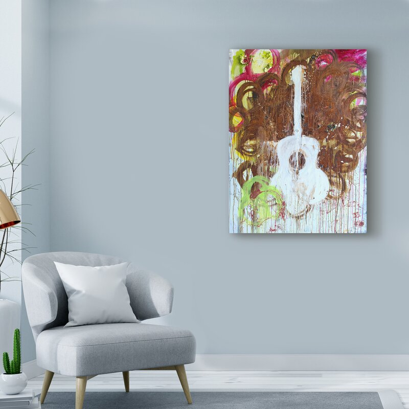 White Guitar Acrylic Painting Print On Wrapped Canvas