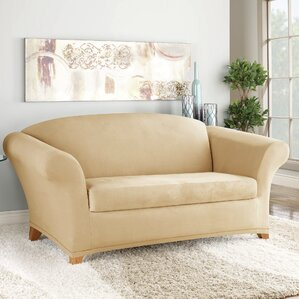 Soft Suede Box Cushion Loveseat Slipcover by..