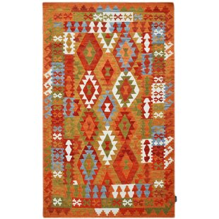 Handmade Kilim Wool Red/Orange Rug by Bakero