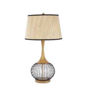 Modern contemporary metal wire table lamp allmodern mckayla 23 table lamp with metal wire cage and faux wood shade greentooth Image collections