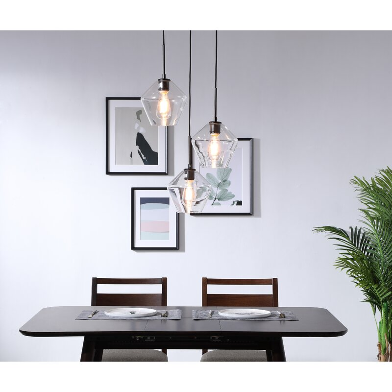 Black Jones 3 Light Cluster Schoolhouse Pendant by Modern Rustic Interiors