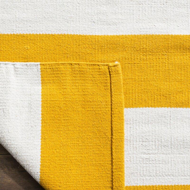 viv rae ike hand woven yellow white area rug reviews wayfair. Black Bedroom Furniture Sets. Home Design Ideas