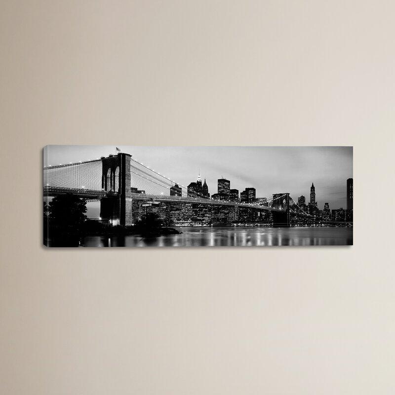 Brayden Studio Flowers Brooklyn Bridge Across The East River at Dusk, Manhattan, New York Canvas Wall Art