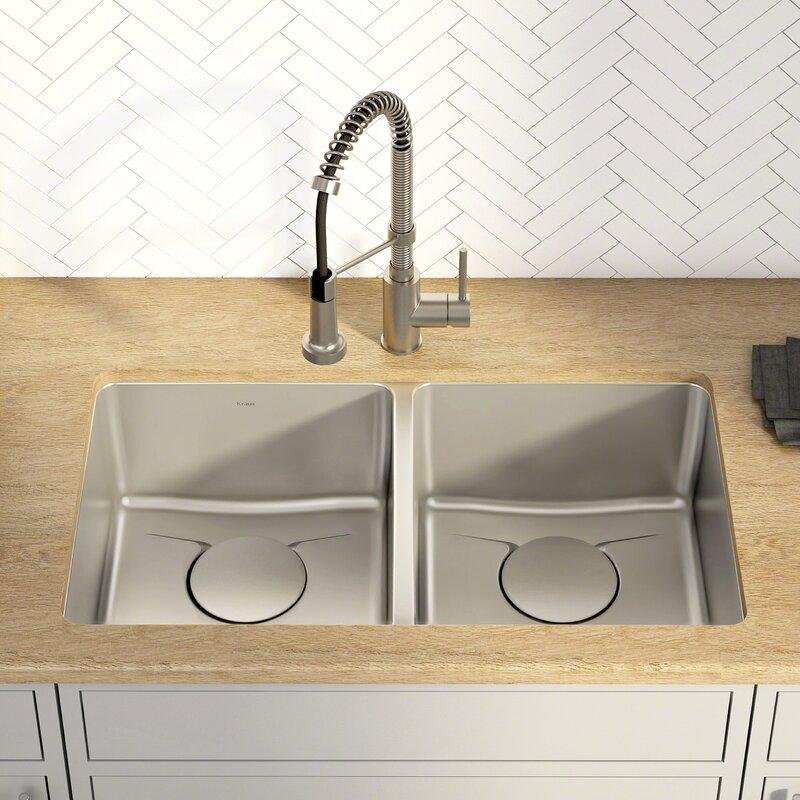 """Kitchen Sink 19 X 33: Kraus Dex™ Series 33"""" X 19"""" Double Basin Undermount"""