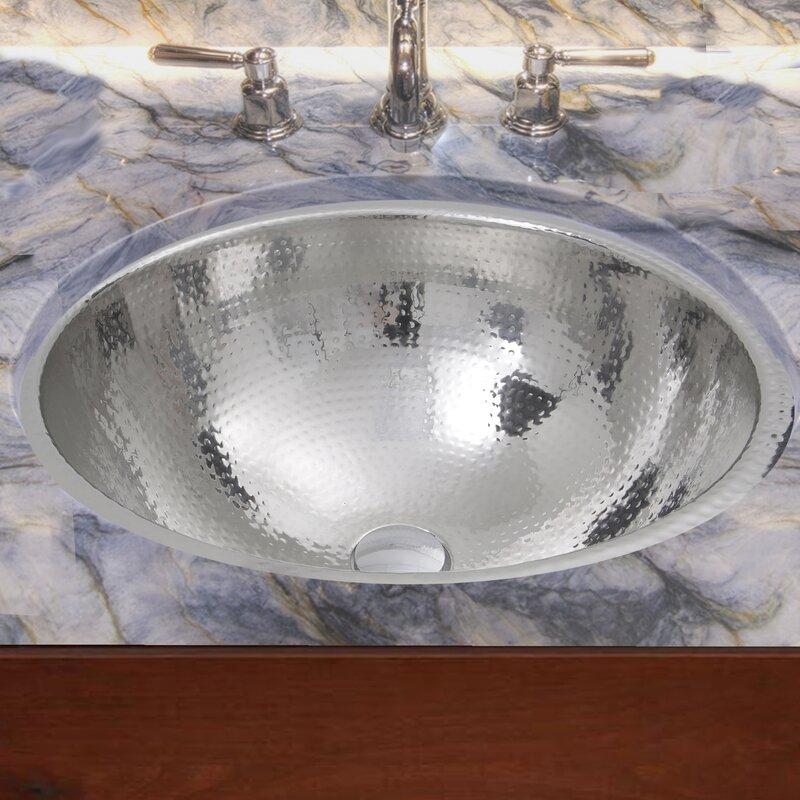 hand hammered stainless steel circular undermount bathroom sink with overflow - Stainless Steel Bathroom Sinks