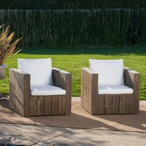 Court Patio Chair with Cushion (Set of 2)