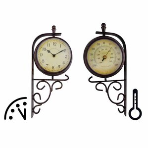 world of weather plastic double sided outdoor clock and thermometer